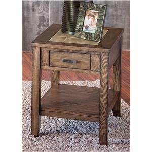 Chair Side Table with Ceramic Tile Top