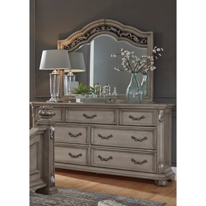 Traditional 7 Drawer Dresser and Mirror Combo