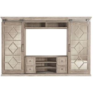 Entertainment Center with Mirrored Sliding Doors