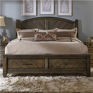 Casual Rustic Queen Bed with Storage Footboard