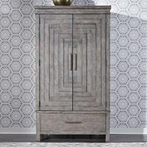 Contemporary 2-Door Armoire with Adjustable Interior Shelves