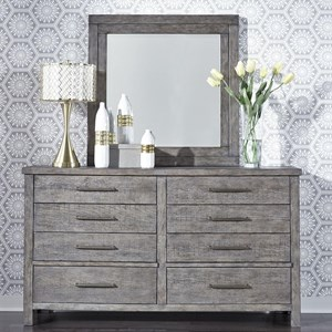 Contemporary 8-Drawer Dresser and Mirror Set