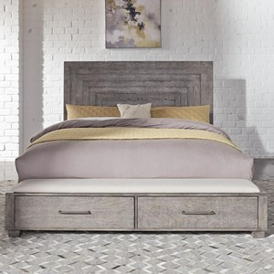 Contemporary King Storage Bed with 2 Footboard Drawers