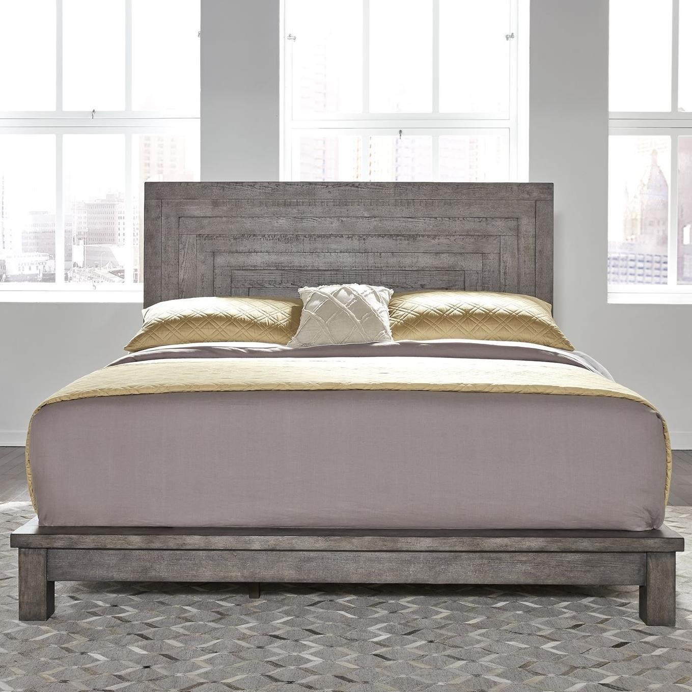 Modern Farmhouse Queen Platform bed by Liberty Furniture at Beck's Furniture