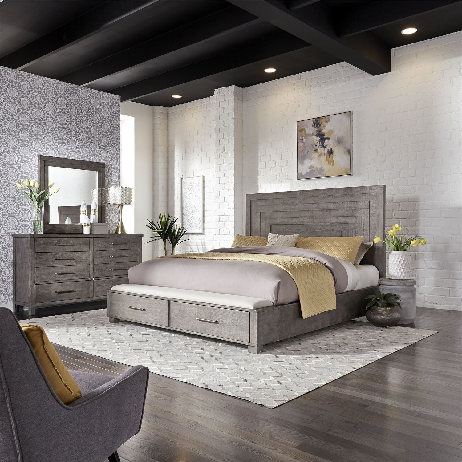 Modern Farmhouse Queen Bedroom Group by Liberty Furniture at Northeast Factory Direct
