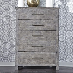 Contemporary 5-Drawer Chest with Felt Lined Top Drawer
