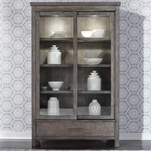 Contemporary 2-Door Display Cabinet with Interior Lighting