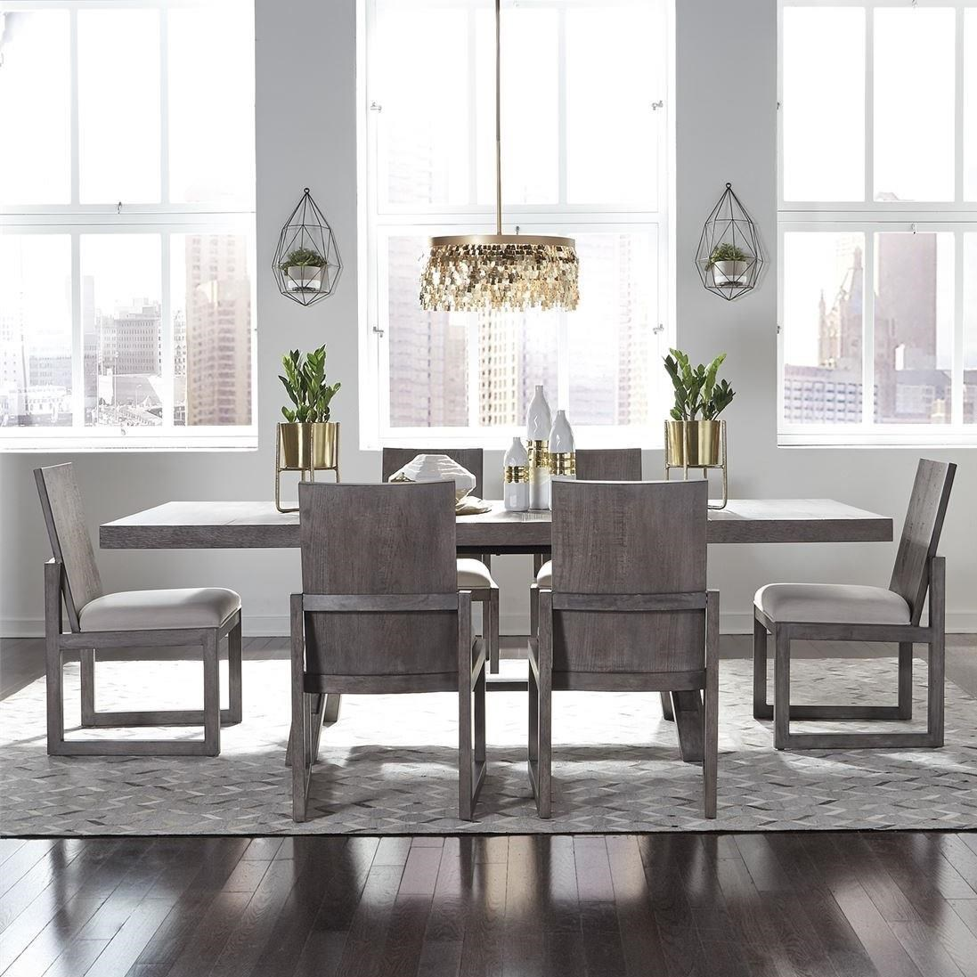 Modern Farmhouse 7-Piece Trestle Table and Chair Set by Libby at Walker's Furniture