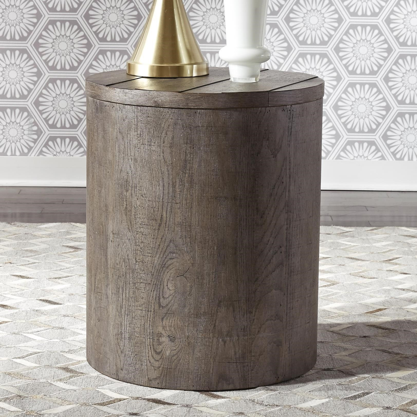 Modern Farmhouse Drum End Table by Liberty Furniture at Darvin Furniture