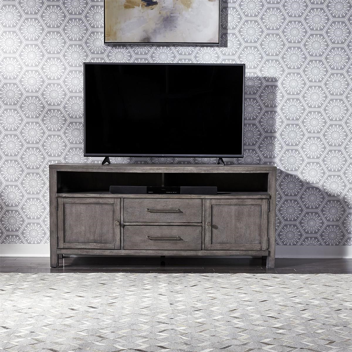 """Modern Farmhouse 66"""" TV Console by Liberty Furniture at Darvin Furniture"""