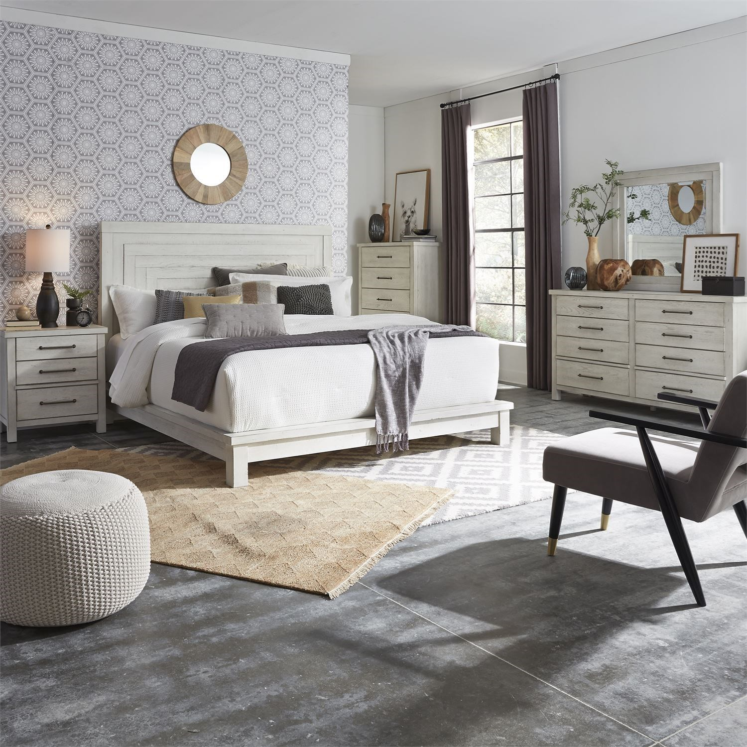 Modern Farmhouse King Bedroom Group by Liberty Furniture at Zak's Home