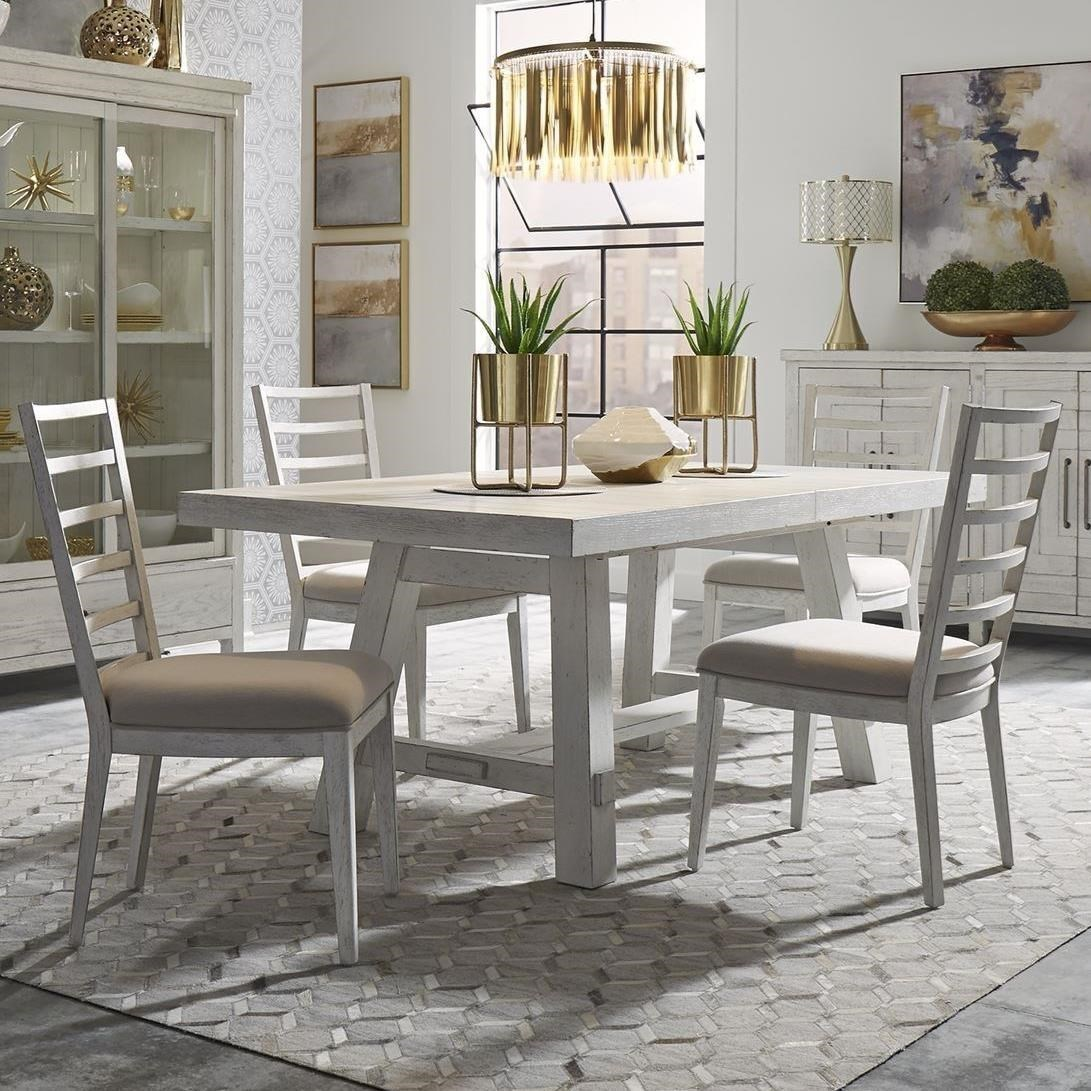 Modern Farmhouse 5-Piece Trestle Table and Chair Set by Libby at Walker's Furniture