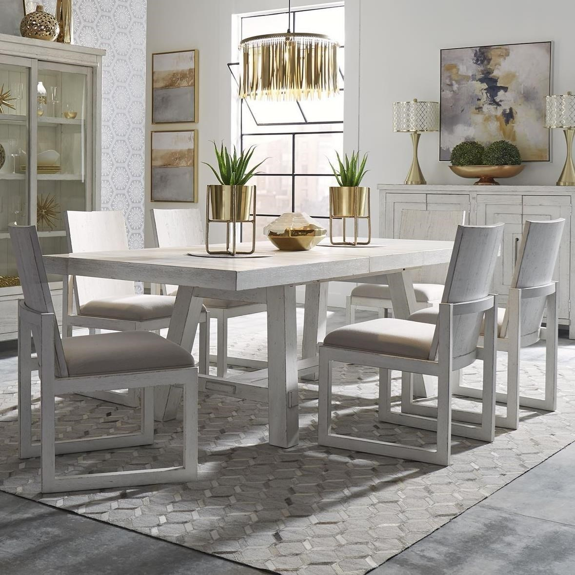 Modern Farmhouse 7-Piece Trestle Table and Chair Set by Liberty Furniture at Suburban Furniture