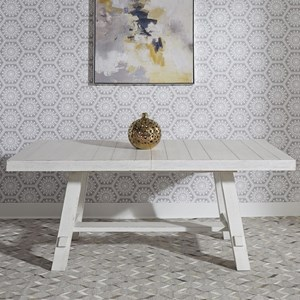 """Contemporary Trestle Table with 20"""" Removable Leaf"""