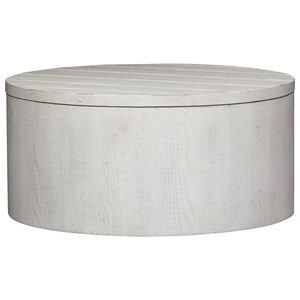 Contemporary Round Drum Cocktail Table