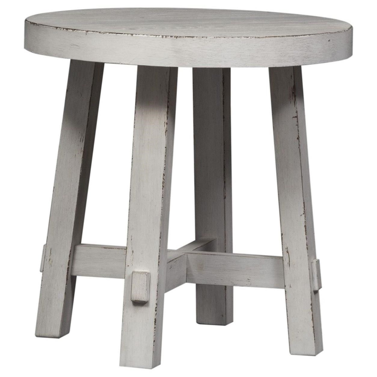 Modern Farmhouse Splay Leg Round End Table by Liberty Furniture at Darvin Furniture