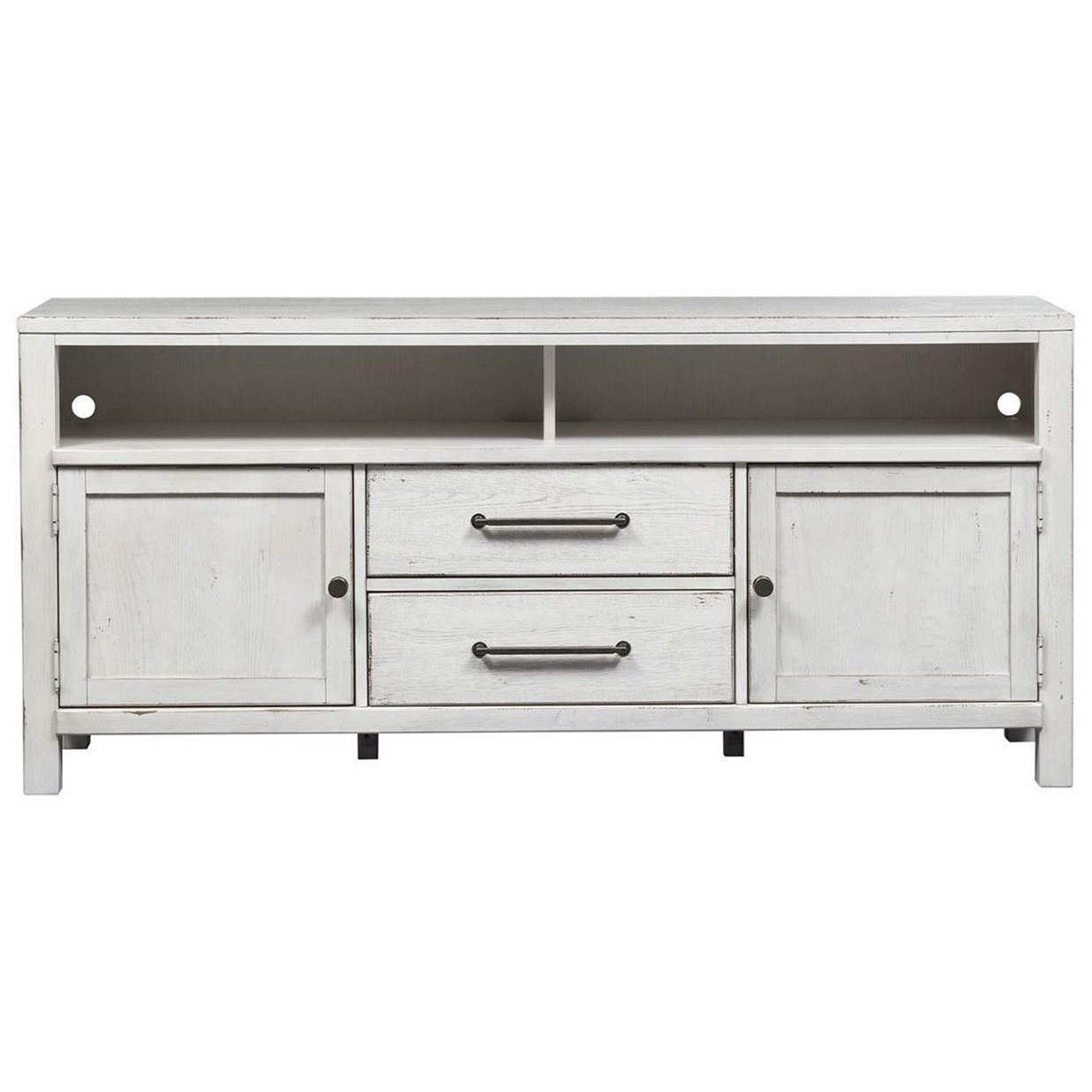 """Modern Farmhouse 66"""" Entertainment Console by Libby at Walker's Furniture"""