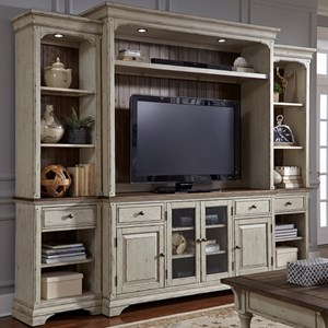Relaxed Vintage Entertainment Center with Piers