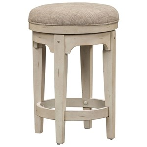 Relaxed Vintage Upholstered Console Swivel Stool