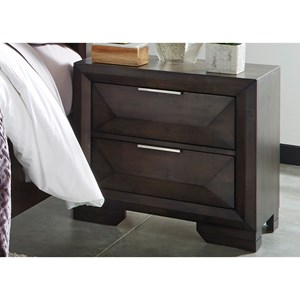 Contemporary Night Stand with Satin Nickel Pull Bars