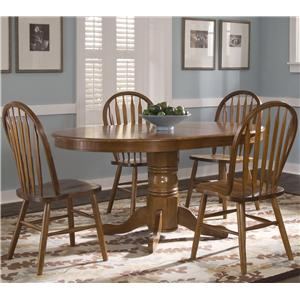 Oval Pedestal Dinner Table w/ 4 Windsor Side Chairs