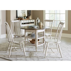 Liberty Furniture Oak Hill Dining 5 Piece Drop Leaf Table Set