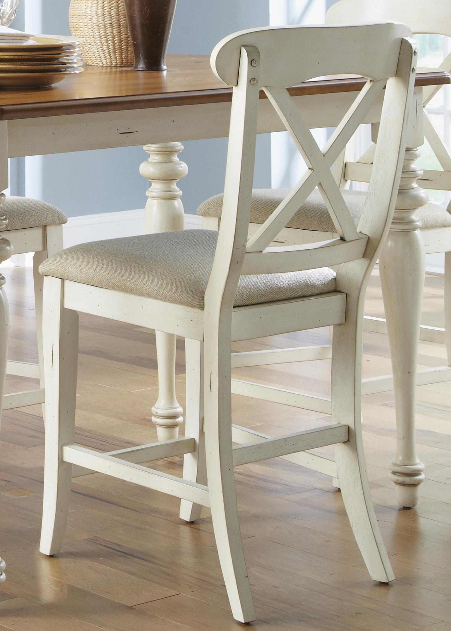 Ocean Isle  X-Back Counter Height Stool by Liberty Furniture at Johnny Janosik