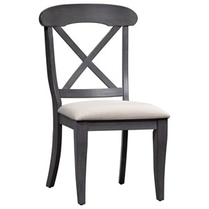 Cottage Style Upholstered X Back Side Chair