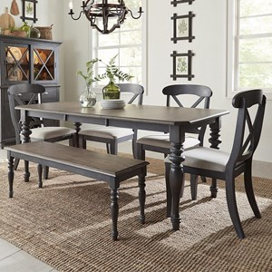 Cottage Style 6-Piece Rectangular Table Set
