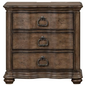 Relaxed Vintage 3 Drawer Nightstand with Charging Station