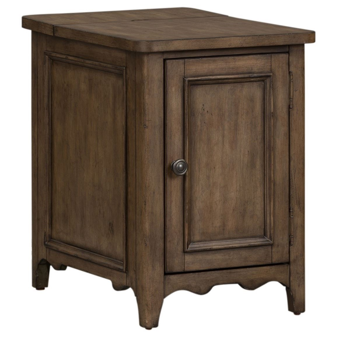 Parisian Marketplace Door Chairside Table with Charging Station by Libby at Walker's Furniture