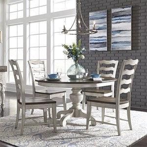 Relaxed Vintage 5-Piece Pedestal Table Set