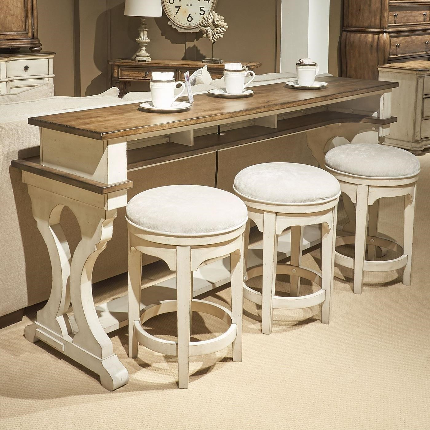 Parisian Marketplace 4-Piece Counter Height Console Bar Table Set by Libby at Walker's Furniture