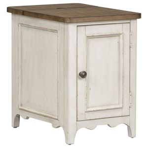 Cottage Style Door Chairside Table with Charging Station