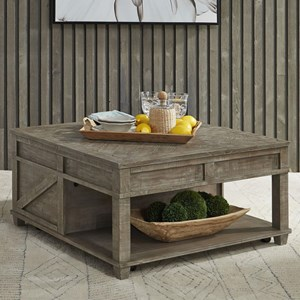Rustic Square Lift Top Cocktail Table with Shelf