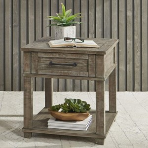 Rustic Rectangular End Table with Drawer and Shelf