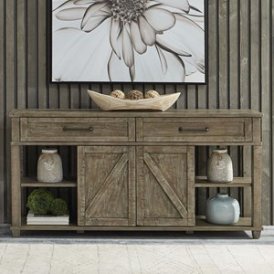 Rustic Sofa Table with 2 Drawers and Sliding Doors