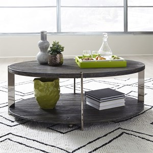 Contemporary Oval Cocktail Table with Metal Legs