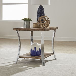 Contemporary End Table with Reclaimed Wood Tops