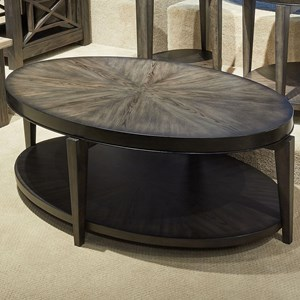 Contemporary Oval Cocktail Table with Bottom Shelf