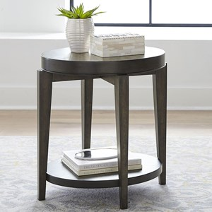 Contemporary Oval Chairside Table with Bottom Shelf