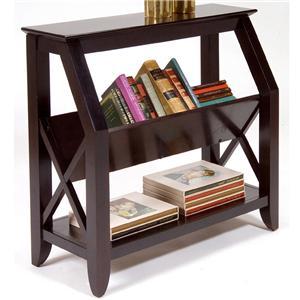 Bookshelf with Center Magazine Rack and Bottom Shelf