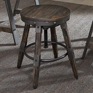 Industrial Adjustable Height Bar Stool with Swiveling Seat