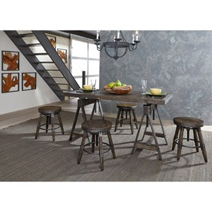 Industrial Adjustable Height Table and Stool Set
