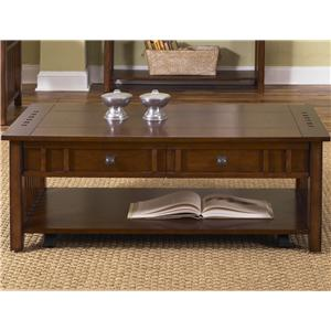 Rectangular Cocktail Table with 2 Drawers & Inlay Shelf