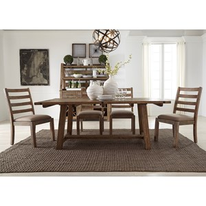 "Rustic 5-Piece 77"" Trestle Table Set"