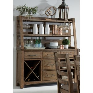 Rustic Server & Hutch with Wine Bottle and Glass Storage