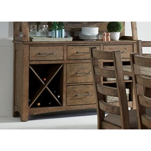 Rustic Server with Removable Wine Rack