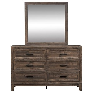 Casual Dresser and Mirror Set with Felt-Lined Top Drawer