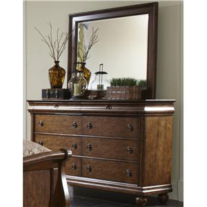 Eight-Drawer Dresser with Wood-Framed Landscape Mirror